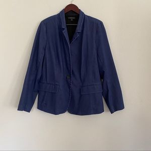LANE BRYANT Single Button Denim Blazer Blue Sz 18